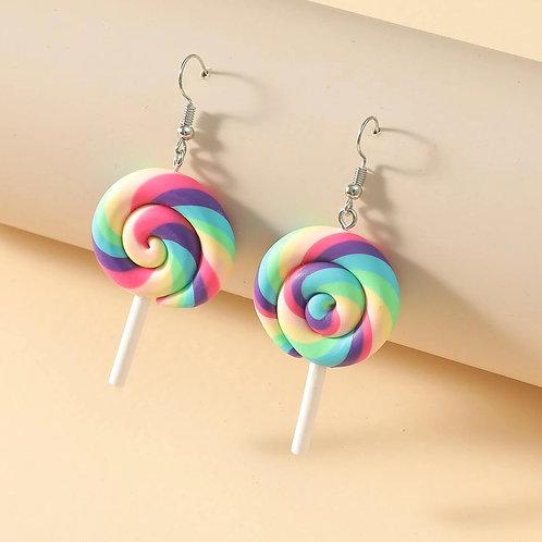 Boucles d'oreilles sucettes multicolores