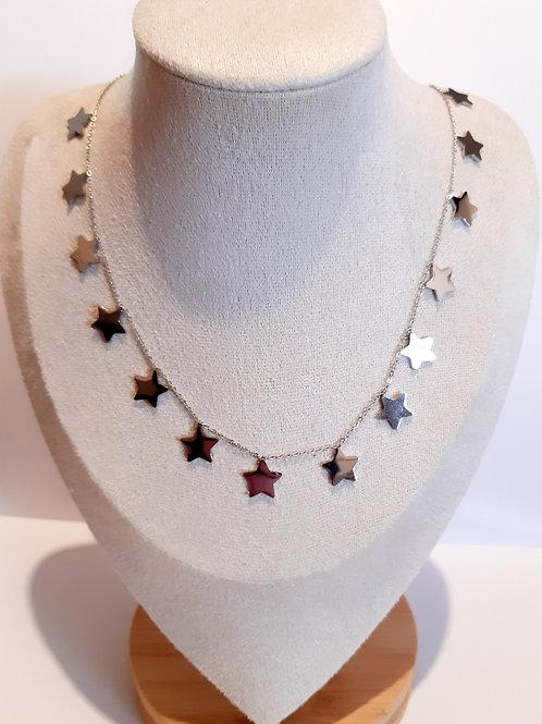 Collier étoiles en acier inoxydable argenté