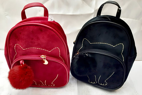 Sac a dos chat velours