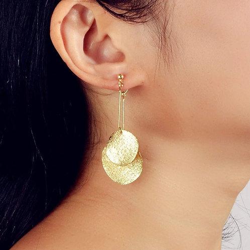 boucles d'oreilles ronds dorés suspendus