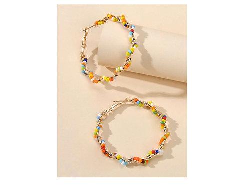 Créoles perles multicolores