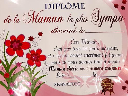 """Diplôme """"Maman la plus sympa"""""""