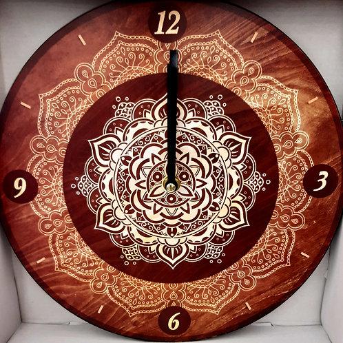 Horloge mandala marron