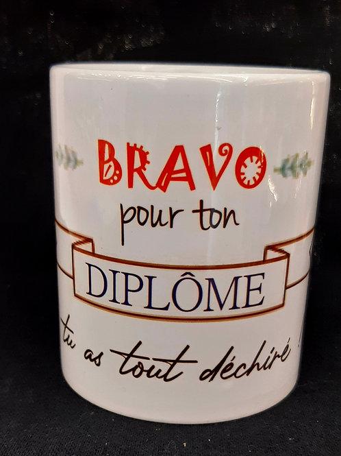 Mug Bravo pour ton DIPLOME