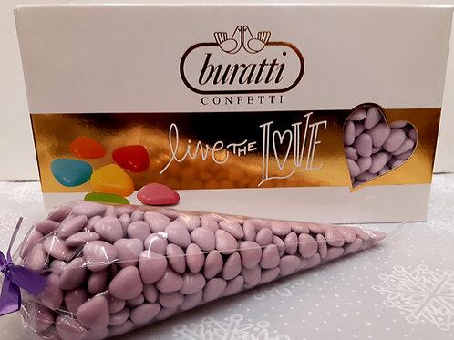 250 grs Dragées Mini Coeur en chocolat violet