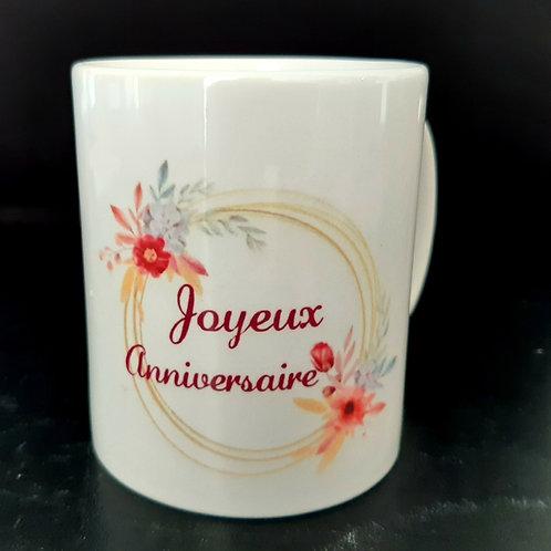 Mug Joyeux anniversaire fleurs