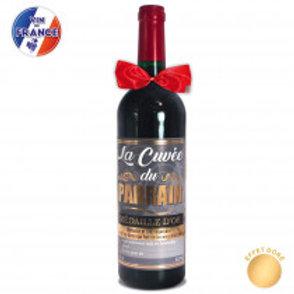 """Bouteille Vin """" Cuvée de Parrain"""""""