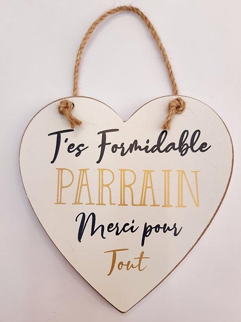 """Coeur en bois """"Parrain"""""""