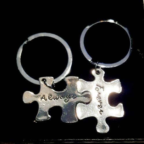 """2 porte-clés puzzle """"Always Forever"""""""