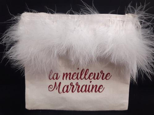 """Pochette maquillage coton """"La meilleure Marraine """" Fait main"""