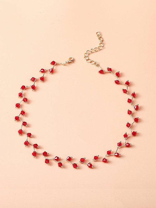 Collier ras de cou perles rouges