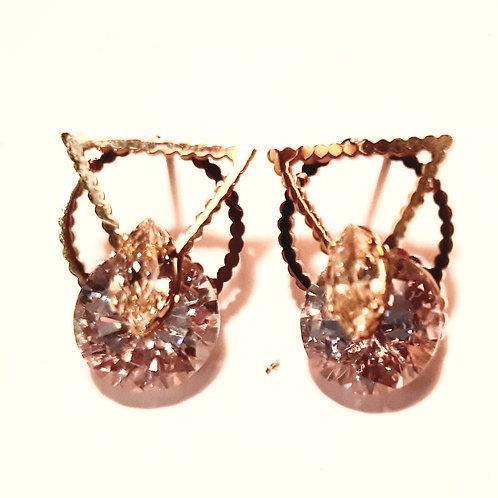 Boucles d'oreilles géométriques avec diamant zirconium