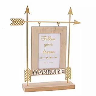 """Cadre en bois et métal """"Marraine"""""""
