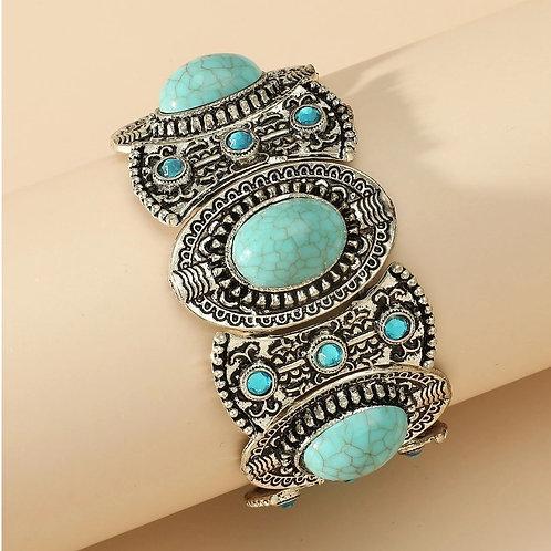 Bracelet ethnique turquoise et argent élastiqué