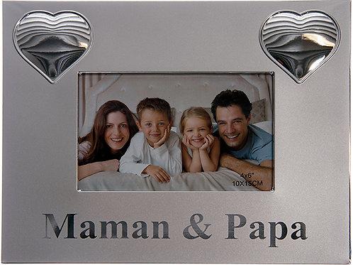 Cadre argent Maman & Papa