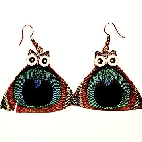 Boucles d'oreilles Hibou plumes de paon