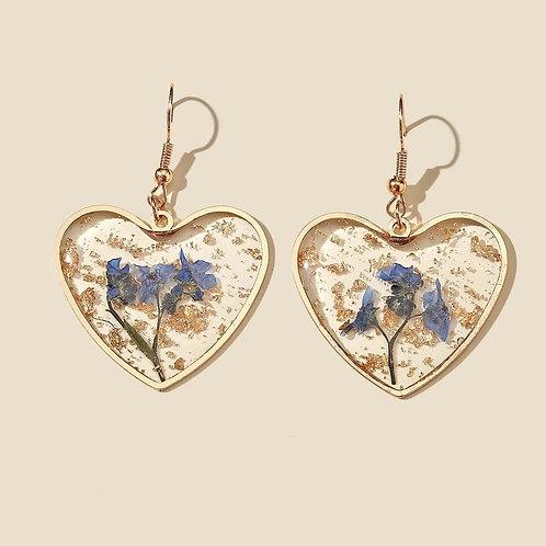 Boucles d'oreilles Coeur fleurs