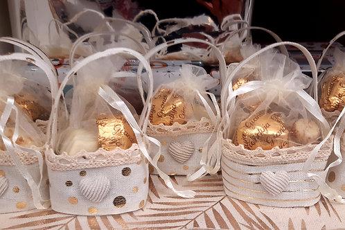 Pochon tissu lin avec 3 chocolats