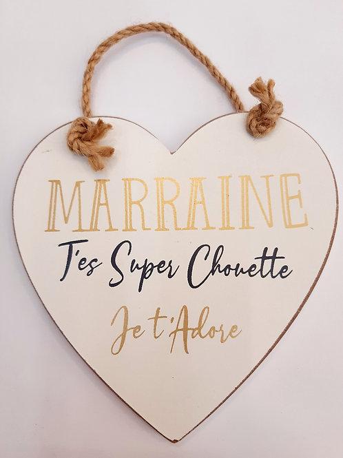 "Coeur en bois ""Marraine"""