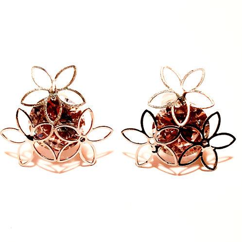 Boucles fleurs avec diamant zirconium