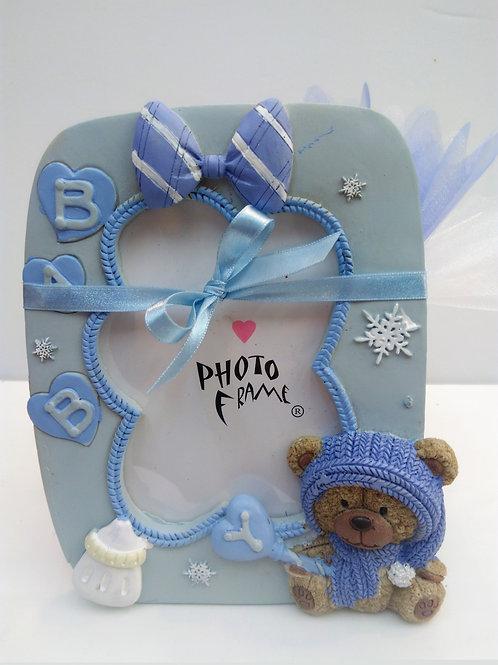 Cadre ourson bonnet bleu
