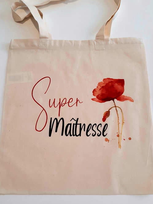 "Tote bag  coquelicot ""Super Maîtresse"""