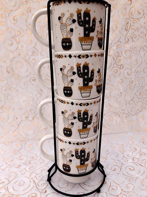 Rack 4 tasses Catus noir