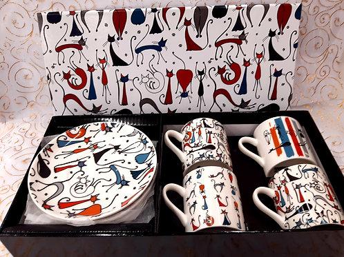 Coffret 4 tasses café chat design