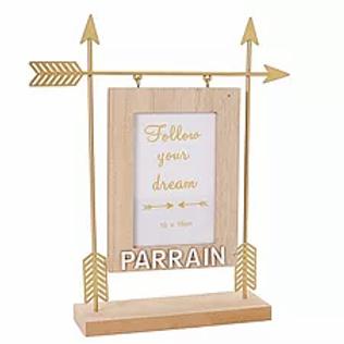 """Cadre en bois et métal """"Parrain"""""""