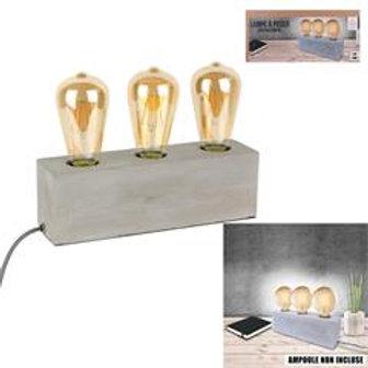 Lampe 3 ampoules sur socle béton