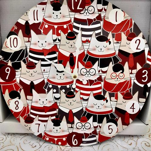 Horloge chats rouges