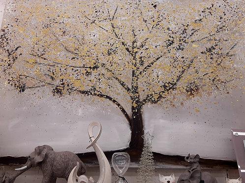 Tableau Arbre feuilles dorées