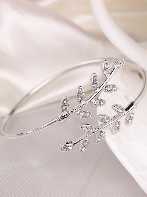 Bracelet feuille argenté