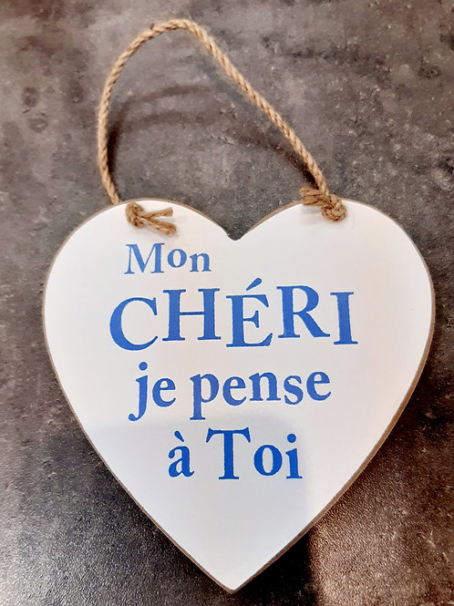 """Coeur en bois """"Mon chéri"""""""