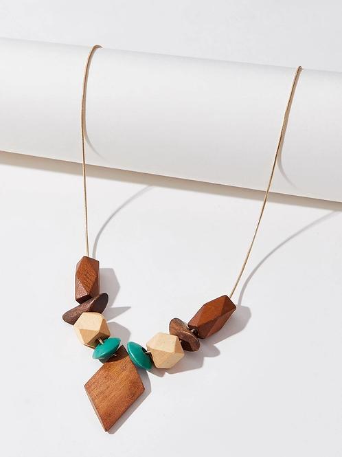 Collier formes géométriques en bois