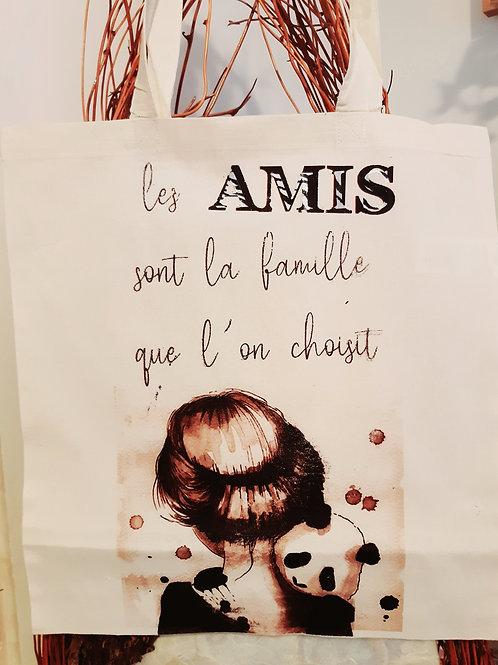 """Tote Bag coton """" Amis"""""""