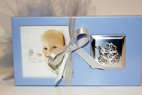 Cadre bébé métal bleu