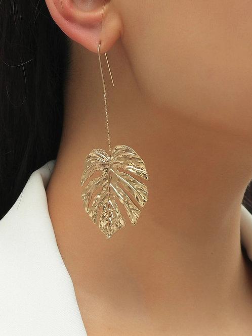 Boucles d'oreilles feuilles dorées suspendues