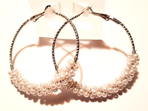 Boucles d'oreilles créoles perlées
