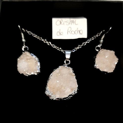Parure collier+Boucles d'oreilles en cristal de roche