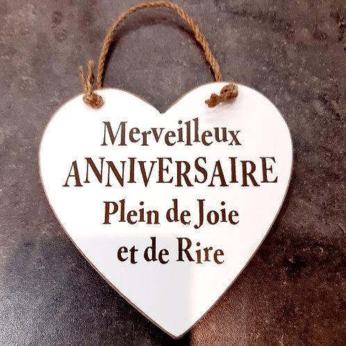 """Coeur en bois """"Anniversaire"""""""