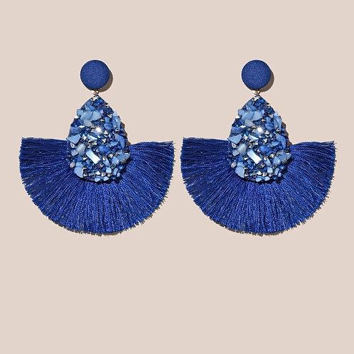 boucles d'oreilles pompons bleu roi