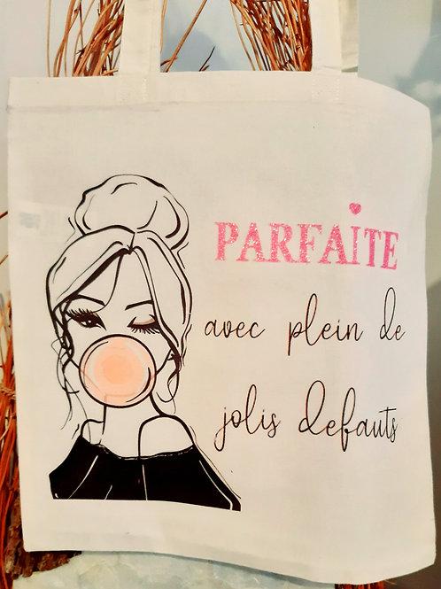 """Tote Bag coton """" Parfaite"""""""