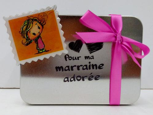Boite métal Marraine + aimant timbre fillette