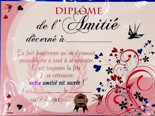 """Diplôme """"de l'Amitié"""""""