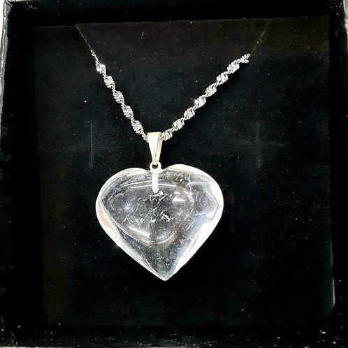Collier Coeur en Cristal de Roche