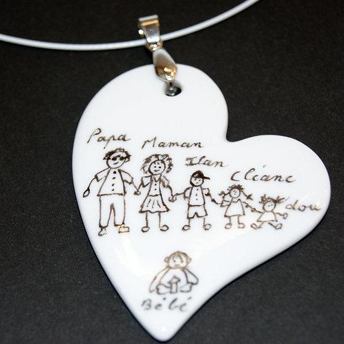 Collier coeur en porcelaine peint à la main