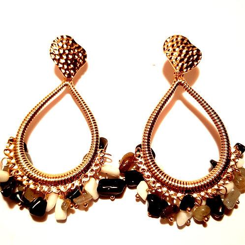 Boucles d'oreilles bohême dorées et noires