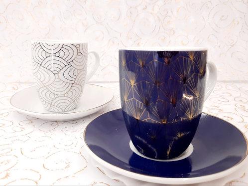 Coffret 2 tasses à café bleu et blanche