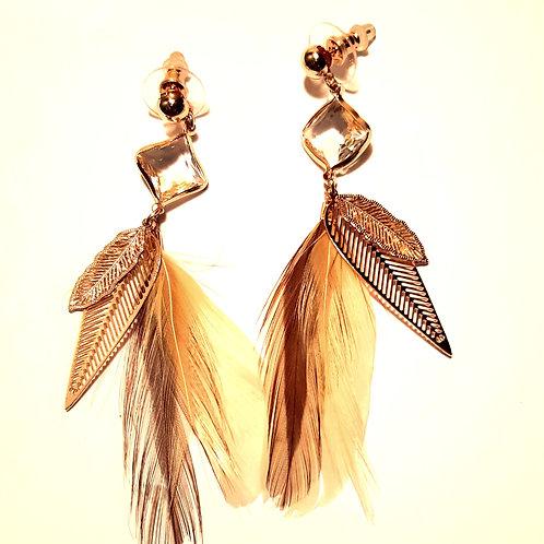 Boucles d'oreilles plumes marron